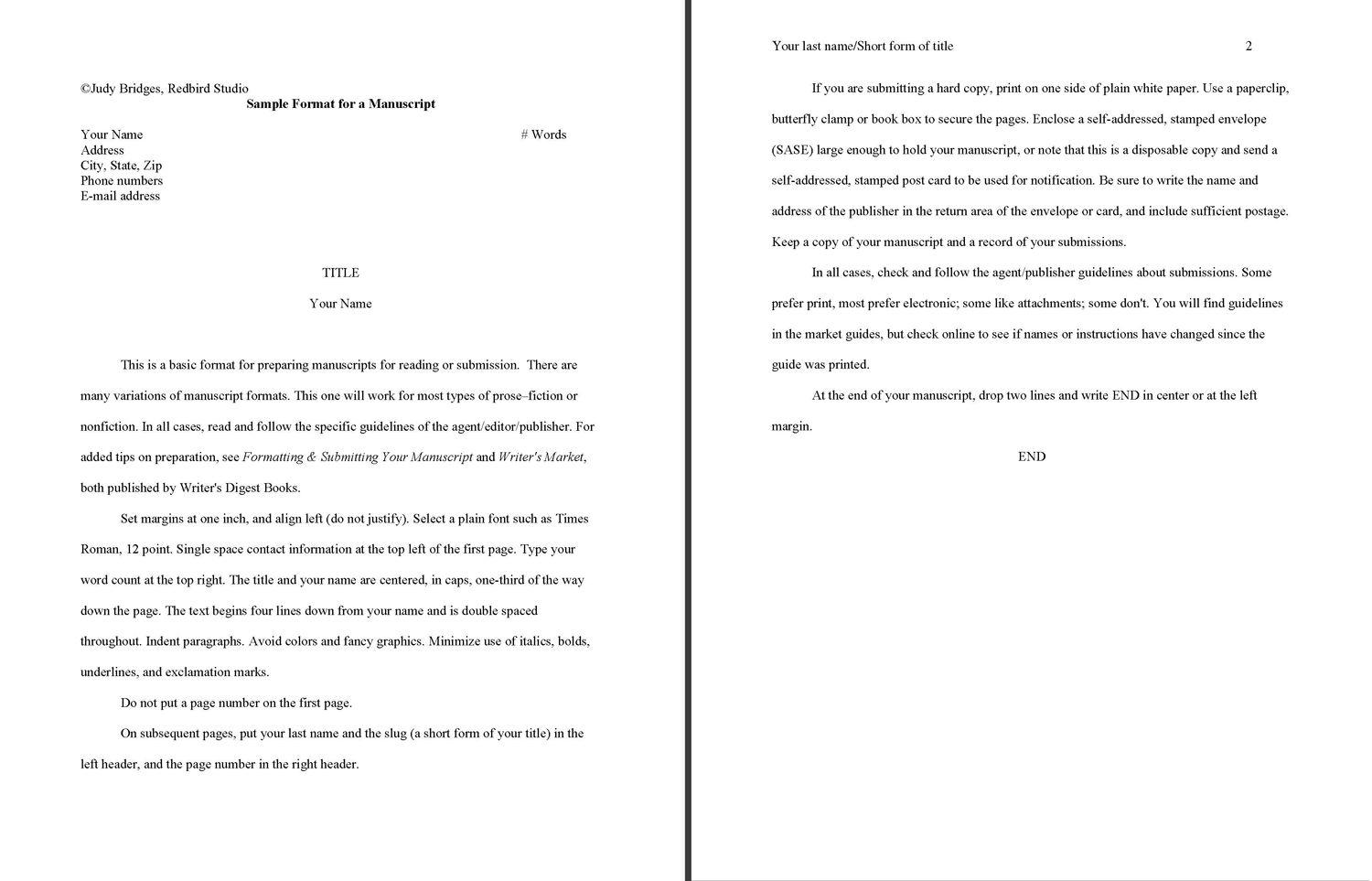 Book Manuscript Template Word  EczaSolinfCo